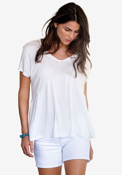 Shirred Tunic by ellos®, WHITE, hi-res