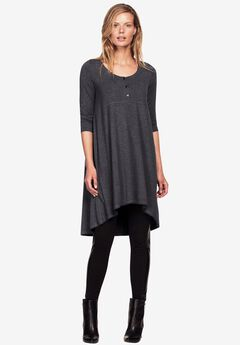 High/Low Henley Tunic by ellos®, HEATHER CHARCOAL, hi-res