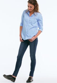 Emma Button-Down Shirt by ellos®, FRENCH BLUE WHITE STRIPE, hi-res