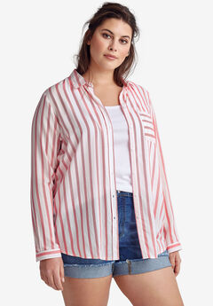 Striped Button-Front Tunic by ellos®,