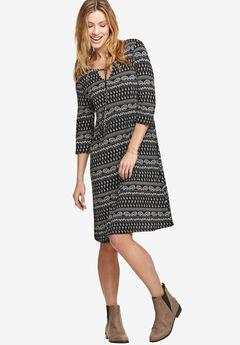 Keyhole Neck A-Line Dress by ellos®, BLACK PAISLEY PRINT
