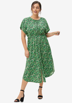 Side-Tie Button-Front Dress,