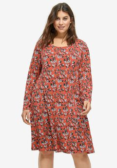 Printed Long Sleeve A-line Dress by ellos®,