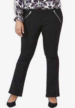Zip Pocket Bootcut Pant by ellos®, BLACK, hi-res