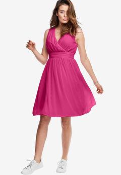 Pleated V-Neck Chiffon Dress by ellos®, RASPBERRY