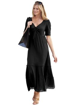 Gauze Maxi Dress by ellos®, BLACK