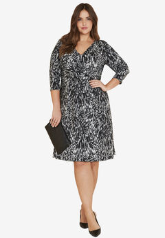 Knot Front Knit Dress by ellos®, BLACK FEATHER PRINT