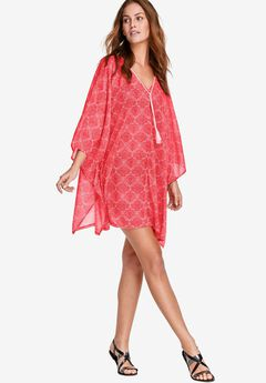 Poncho Tunic by ellos®, CORAL RED MEDALLION, hi-res