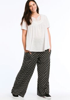 Pleated Wide Leg Knit Pants by ellos®, BLACK WHITE PRINT, hi-res