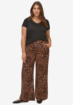 Wide-Leg Soft Pants with Back Elastic,