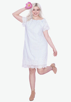 Scalloped Eyelet Hem Dress by ellos®, WHITE FRENCH BLUE STRIPE