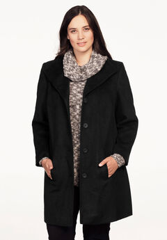 Brushed Wool-Blend Coat by ellos®, BLACK