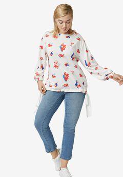 Chiffon Tie Floral Sweatshirt by ellos®,