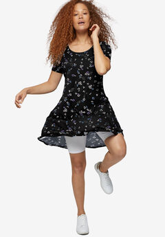 Short Sleeve A-Line Knit Dress,