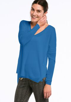 Lightweight V-neck High/low Sweater by ellos®,