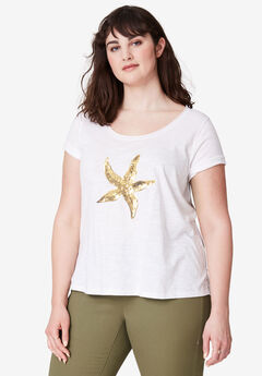 Graphic Sequin Tee by ellos®, WHITE STARFISH, hi-res