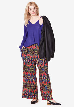 Wide-Leg Soft Pants with Back Elastic by ellos®, ANTIQUE STRAWBERRY TRIBAL