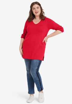 V-Neck Sweater Tunic by ellos®,
