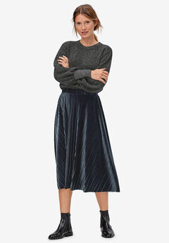 Velour Pleated Skirt by ellos®, RICH NAVY