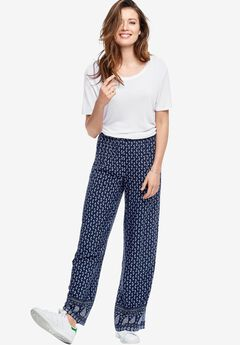Printed Wide Leg Soft Pants By Ellos®, NAVY PAISLEY PRINT, hi-res