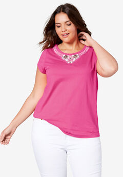 Beaded Neckline Tee by ellos®, PASSION PINK, hi-res