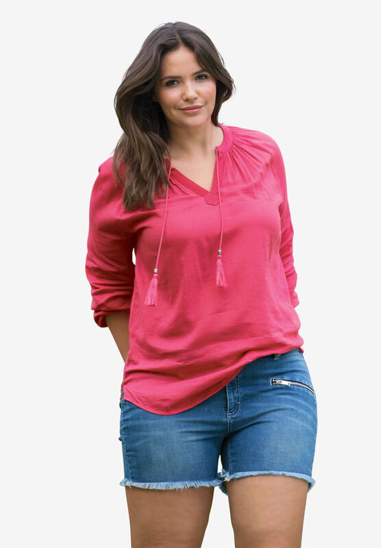 ellos Womens Plus Size Zip Pocket Stretch Denim Shorts