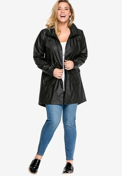 Hooded Anorak Raincoat by ellos®, BLACK
