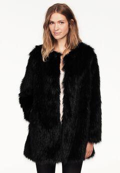 Faux Fur Snap Front Coat by ellos®, BLACK, hi-res