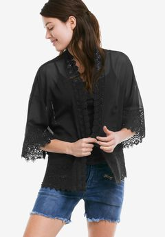 Sheer Lace Trim Kimono Cardigan by ellos®, BLACK, hi-res