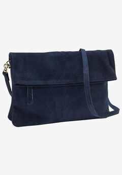 Convertible Suede Clutch Handbag by ellos®, NAVY, hi-res