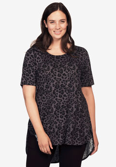 Short Sleeve Printed High/Low Tunic by ellos®, LEOPARD PRINT, hi-res