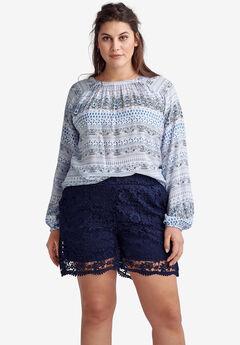 Crochet Lace Shorts by ellos®, NAVY