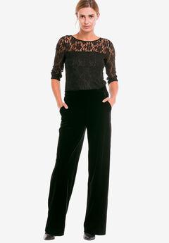 Stretch Velvet Wide Pants by ellos®, BLACK, hi-res