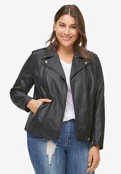 Faux Leather Moto Jacket,