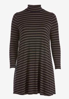 Mock Neck A-Line Dress by ellos®, BLACK SAND DUNE STRIPE