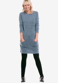 Pullover Pocket Sweater Tunic by ellos®, BLUE BLACK MARLED, hi-res