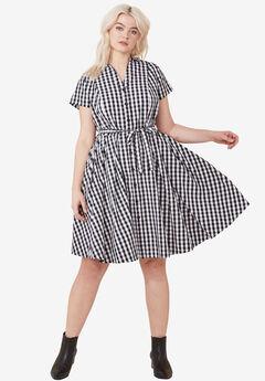 Sandy Shirtwaist Dress by ellos®, BLACK WHITE GINGHAM, hi-res