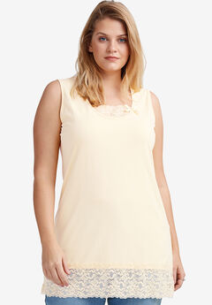 Lace Trim Tunic Tank by ellos®,