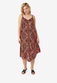 Bali Point Hem Dress by ellos®, HOT CORAL MULTI PRINT, hi-res