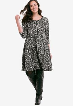 Madison Dress by ellos®, BLACK WHITE PRINT, hi-res