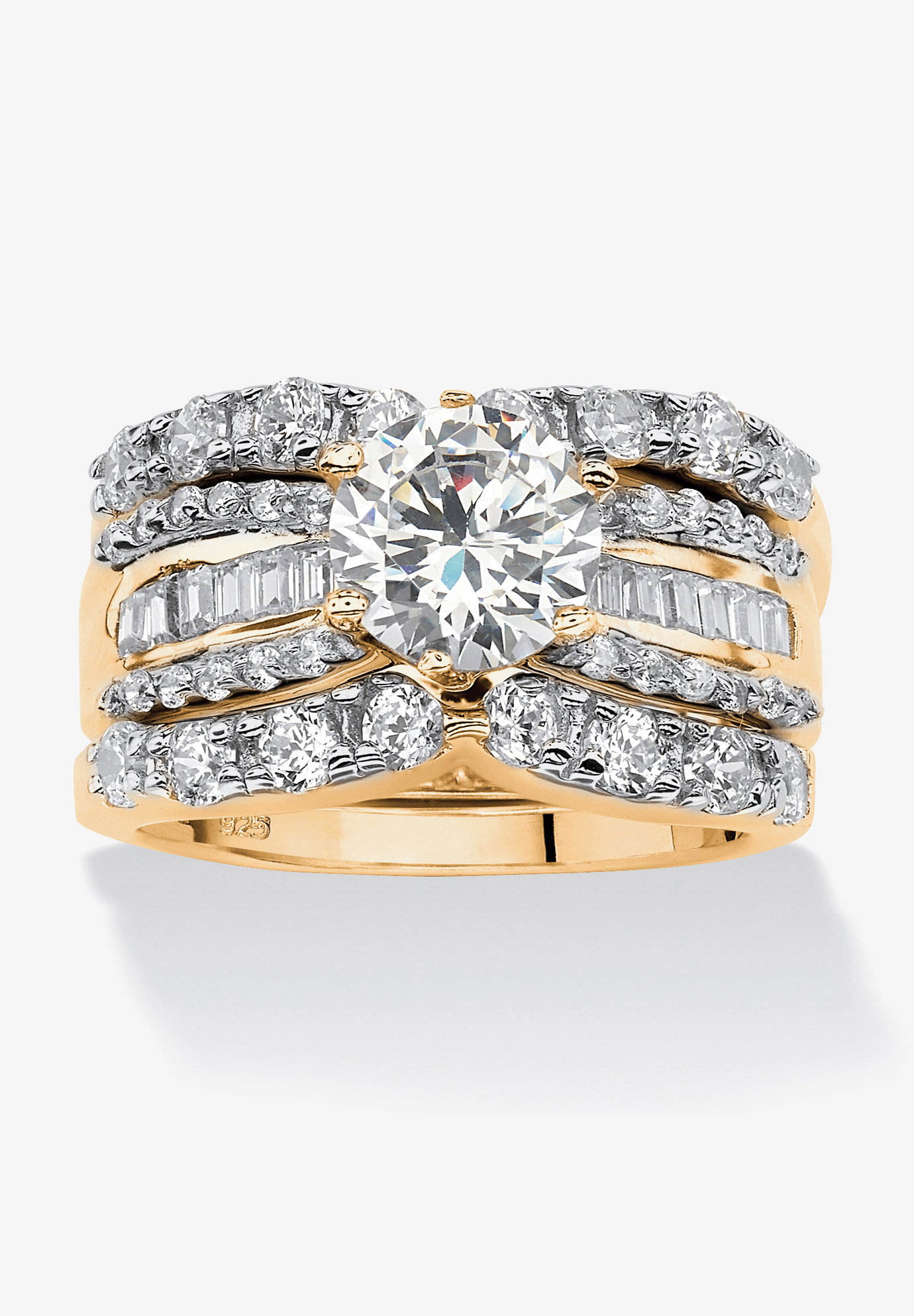 Gold over Silver Bridal Ring Set Cubic Zirconia (5 5/8 cttw TDW),