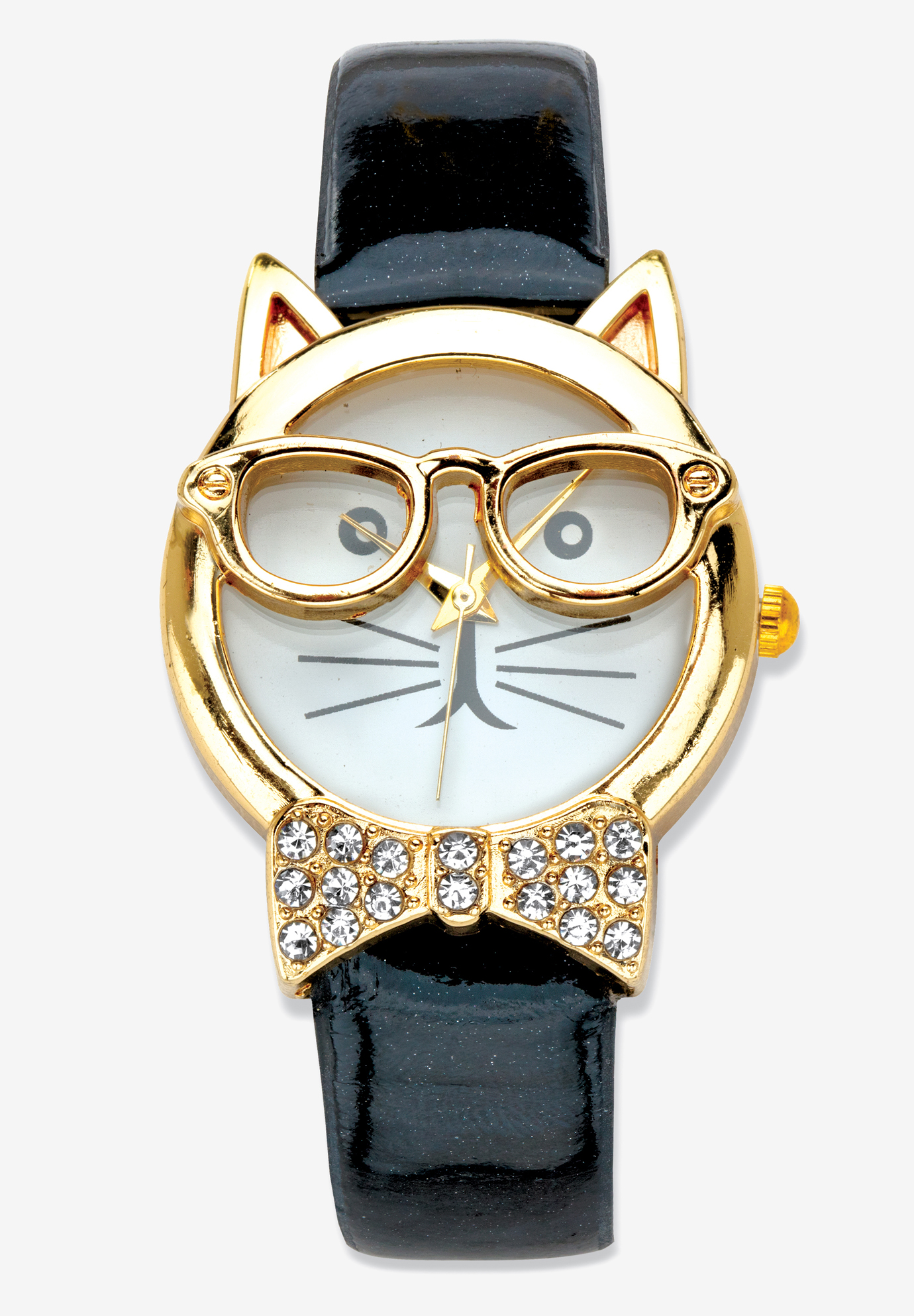"Gold Tone Bowtie Cat Watch with Adjustable Black Strap 8"", CAT"