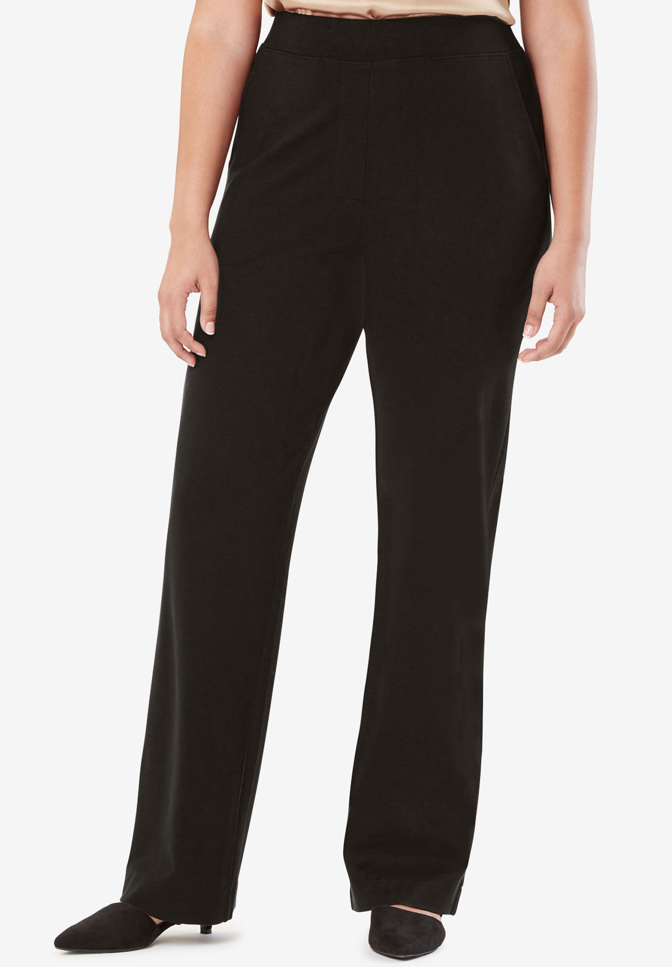 Wide Leg Trousers in Ponte Knit,
