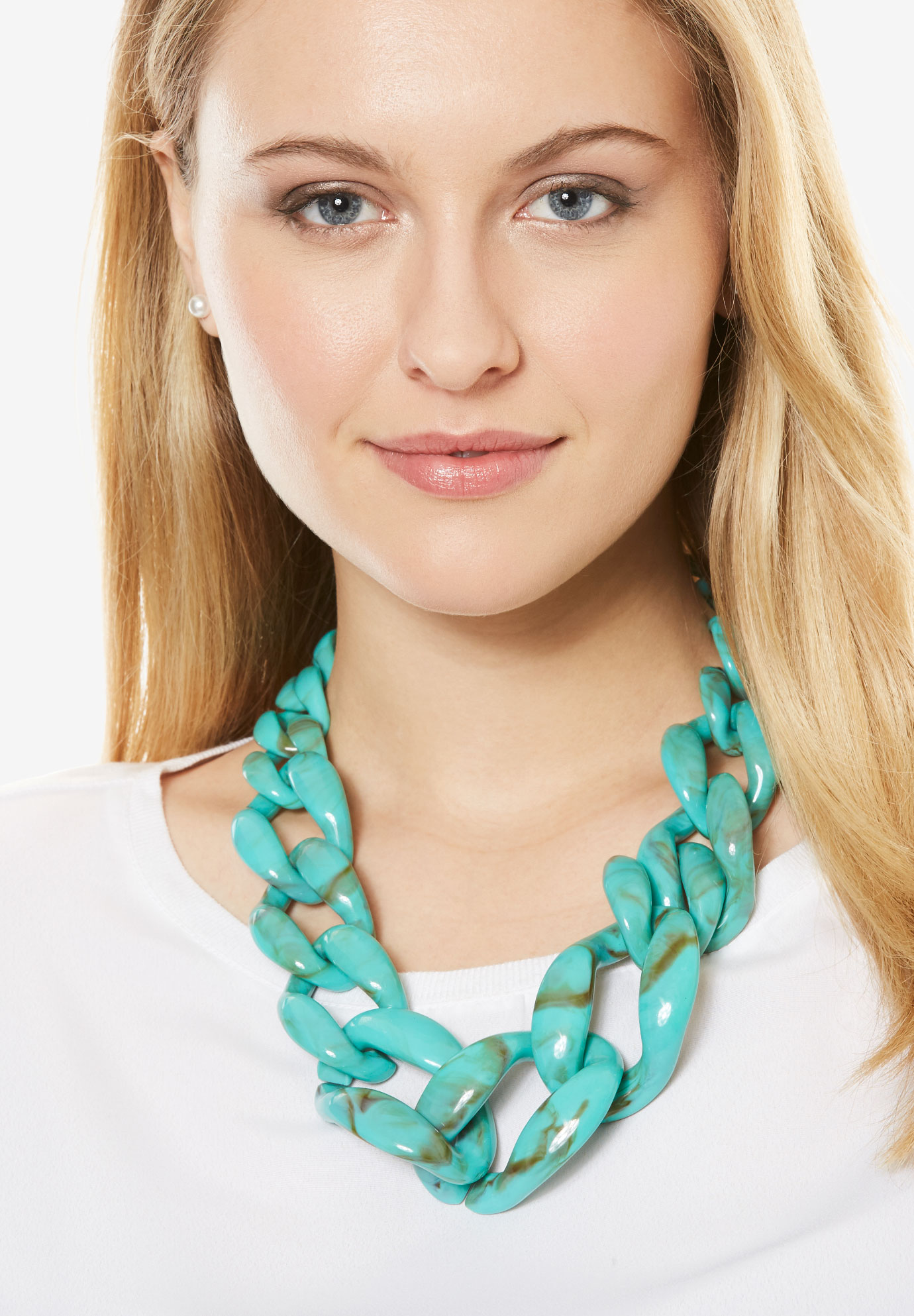 Chunky Bead Necklace, TURQUOISE