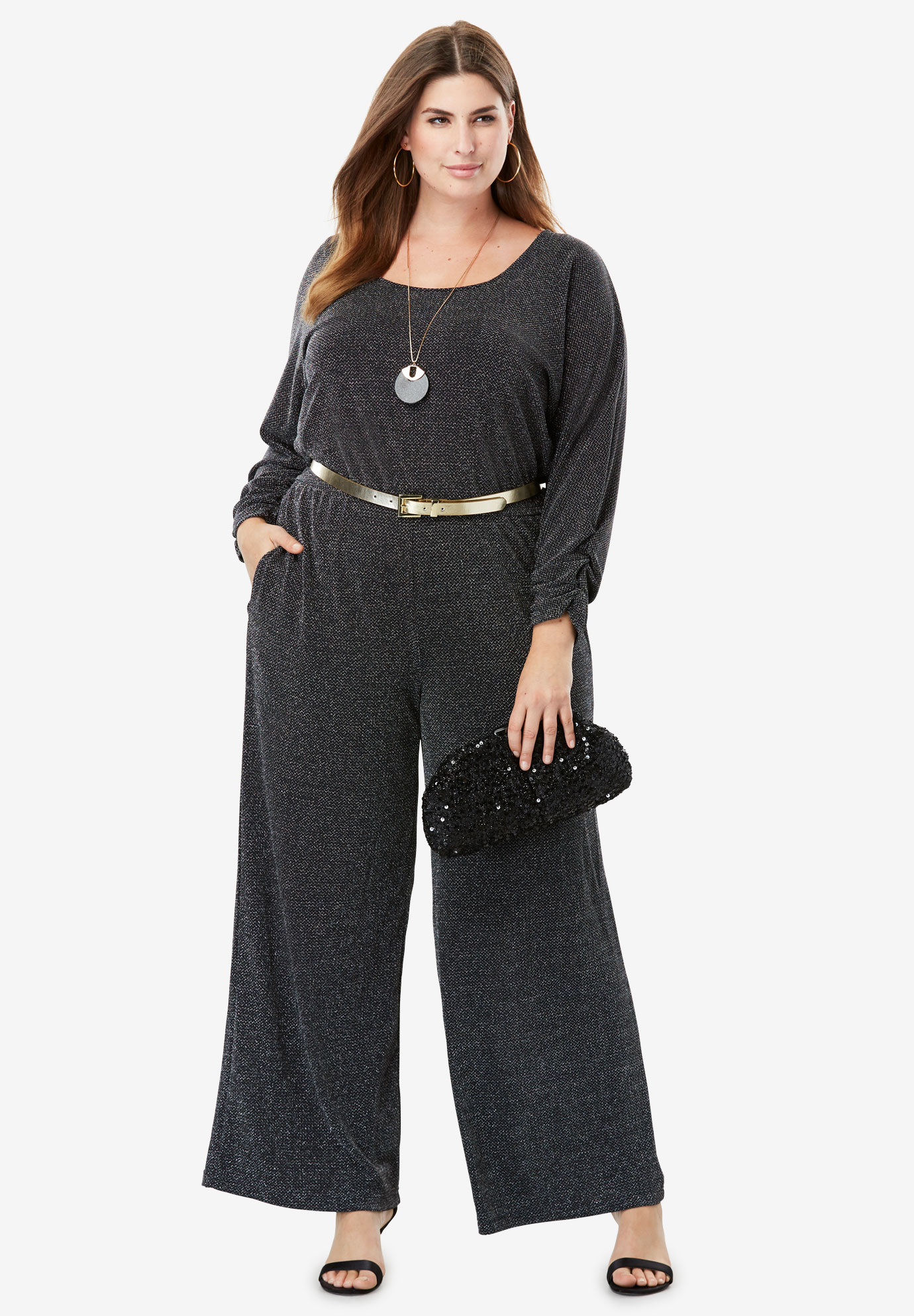Metallic Wide Leg Jumpsuit,
