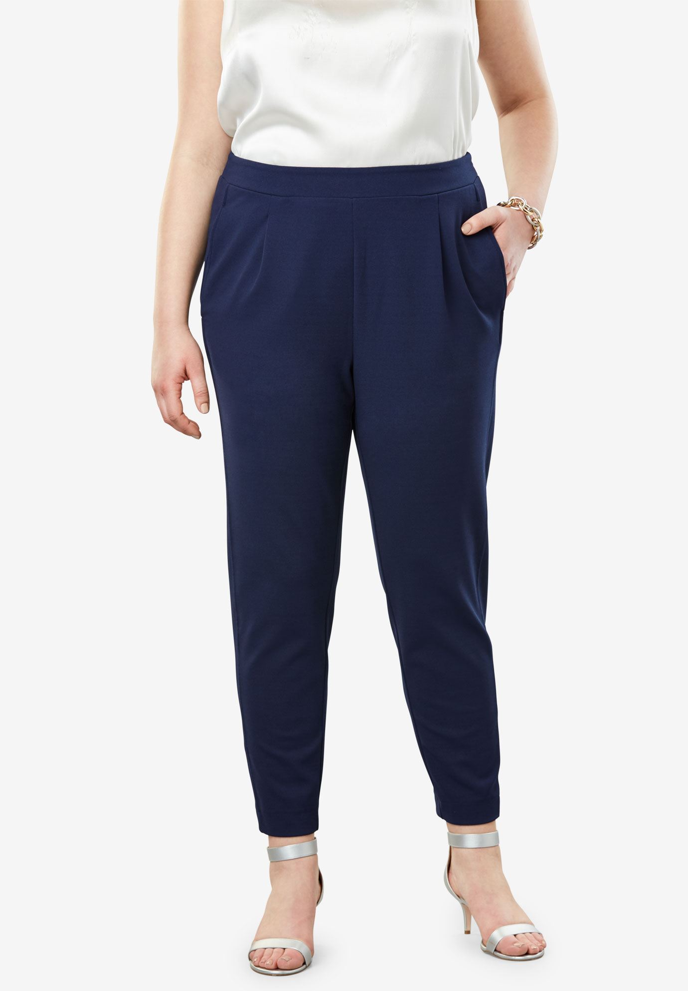 Signature Knit Crepe Tapered Ankle Pant,