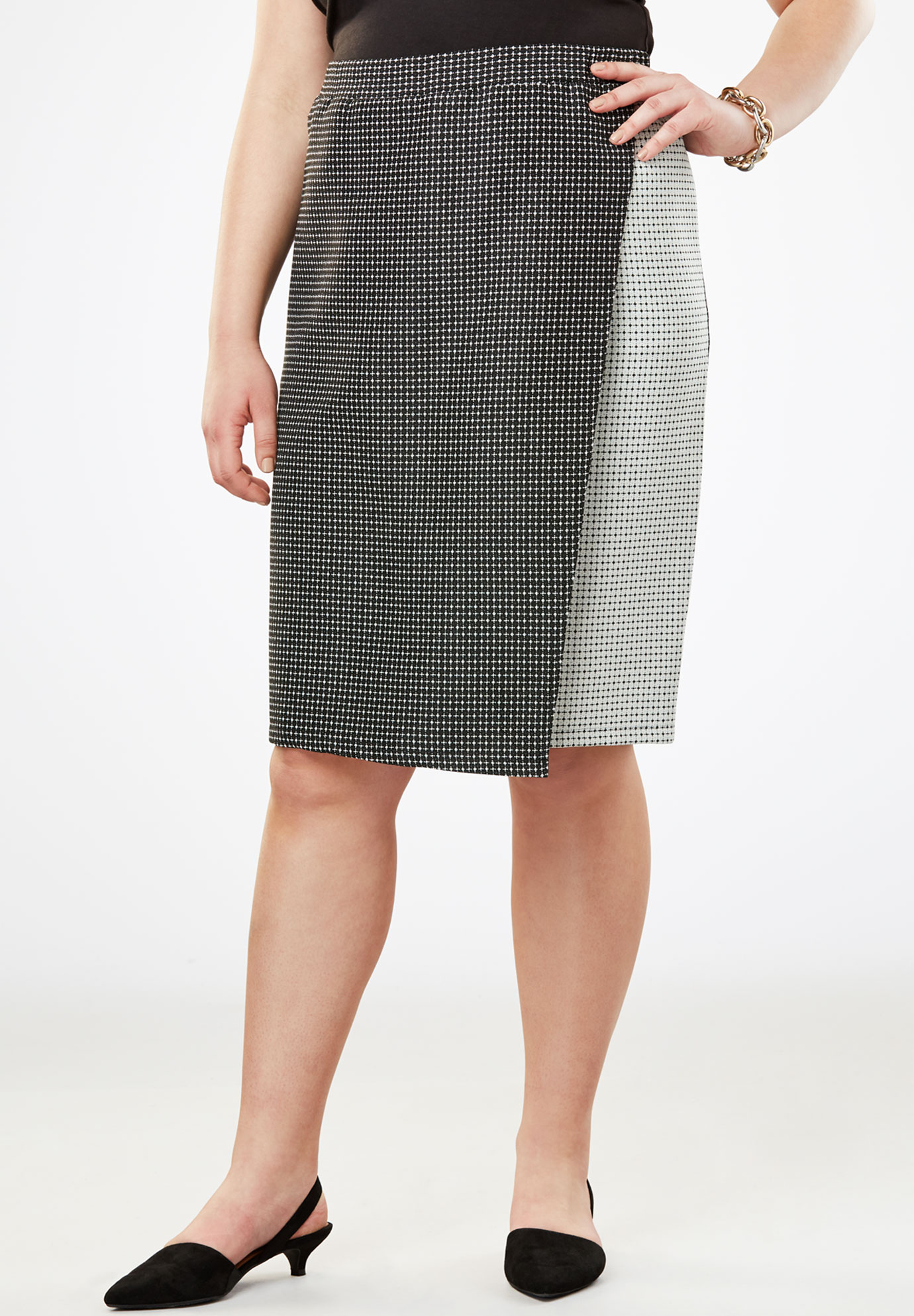Faux Wrap Skirt,