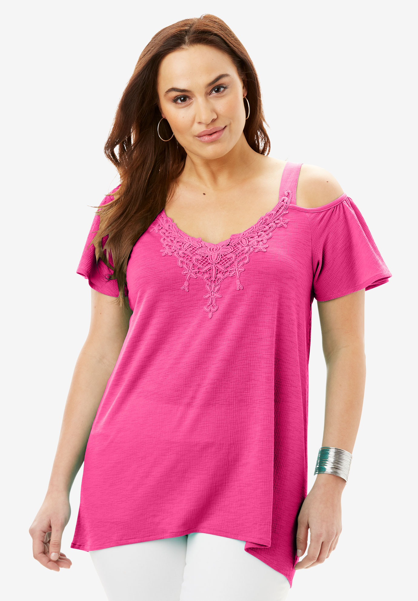 Crinkle Cotton Cold Shoulder Tunic,