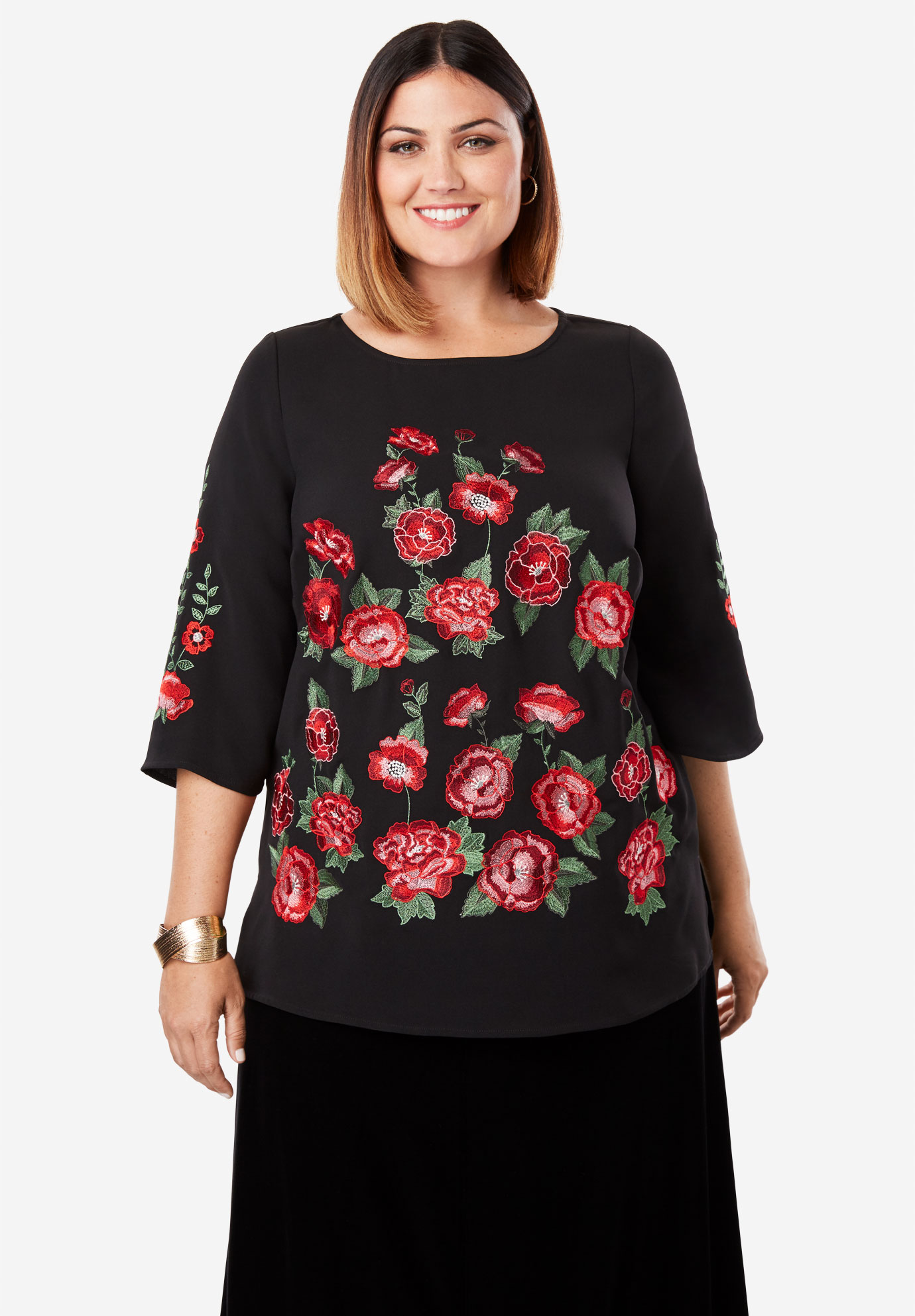 Embroidered Bateau Neck Tunic,