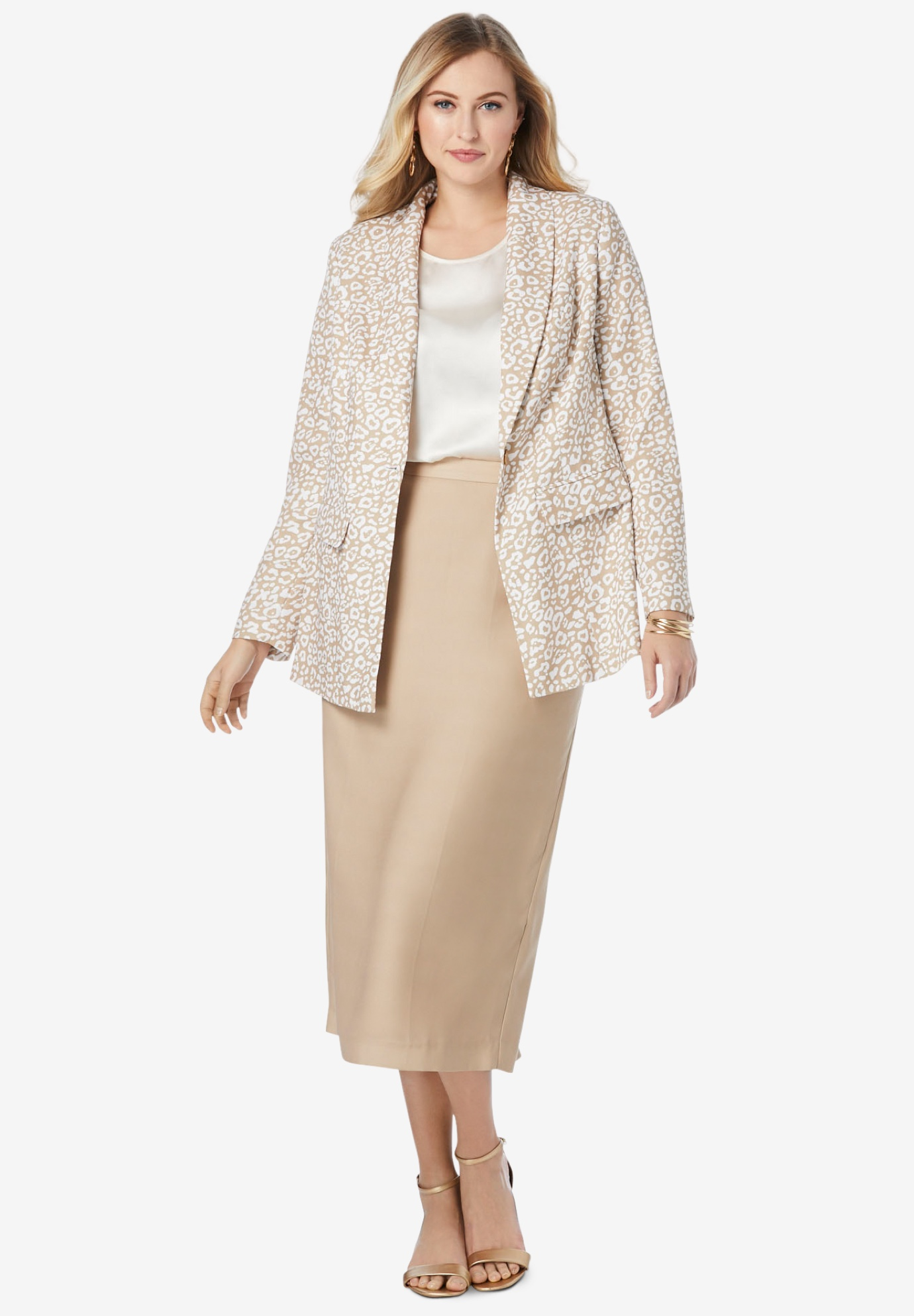 Jessica London Womens Plus Size Single-Breasted Skirt Suit Set